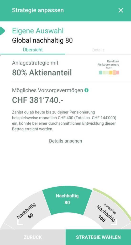 VIAC flexible Strategie Screenshot App Säule 3a